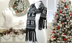Black Acrylic Knit Nordic Pattern Design Scarf