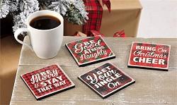 Set of Four Cork Holiday Design Coasters