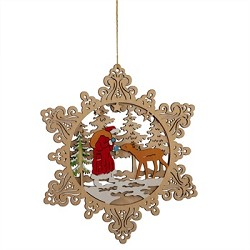 Santa and Deer Scene Ornament - Cut Wood