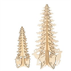 Laser-Cut Wood Trees with Deer Set of 2