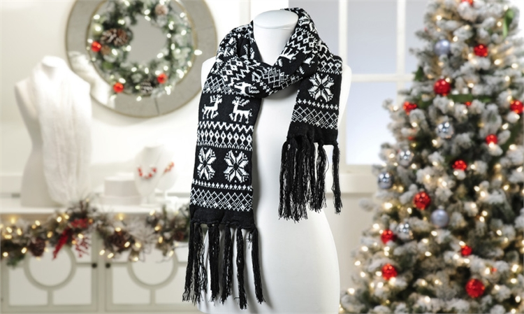 Black Acrylic Knit Nordic Pattern Design Scarf,652432