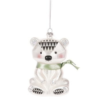 Geometric Modern Polar Bear Ornament,123150