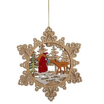 Santa and Deer Scene Ornament - Cut Wood,128478